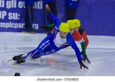 TORINO, ITALY - FEBRUARY 17: 2009 Nicola RODIGARI, Italy, leads during preliminary rounds at ISU European Short Track Speed Skating Championship at Palatazzoli February 17, 2009 in Torino, Italy