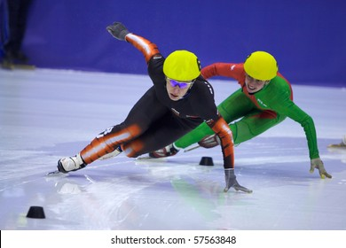 TORINO, ITALY - FEBRUARY 17: 2009 Evgenia RADANOVA,Bulgaria, leads during preliminary rounds at ISU European Short Track Speed Skating Championship at Palatazzoli February 17, 2009 in Torino, Italy