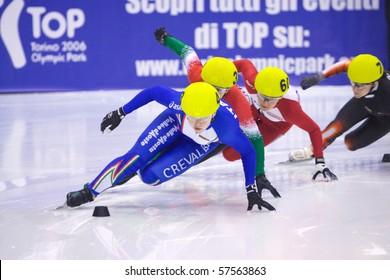 TORINO, ITALY - FEBRUARY 17: 2009 Arianna FONTANA,Italy, leads during preliminary rounds at ISU European Short Track Speed Skating Championship at Palatazzoli February 17, 2009 in Torino, Italy