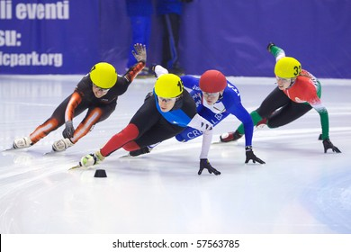 TORINO, ITALY - FEBRUARY 18: 2009 BOUVIER Stephanie, France, leads during final round at ISU European Short Track Speed Skating Championship at Palatazzoli February 18, 2009 in Torino, Italy