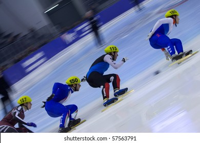 TORINO, ITALY - FEBRUARY 18: 2009 YKURGINYAN Vyacheslav, Russia, leads during final round at ISU European Short Track Speed Skating Championship at Palatazzoli February 18, 2009 in Torino, Italy