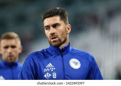 Torino, Italy - June 11,2019. UEFA European Championships qualifying match Group J. Italy vs  Bosnia and Herzegovina. Ervin Zukanovic of Bosnia and Herzegovina .