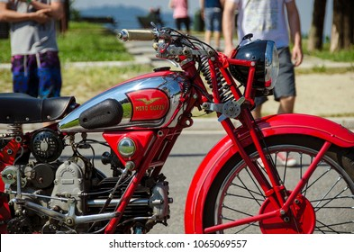 Torino / Italy - June 2015: Old Moto Guzzi. Moto Guzzi is an Italian motorcycle manufacturer and the oldest European manufacturer in continuous motorcycle production.