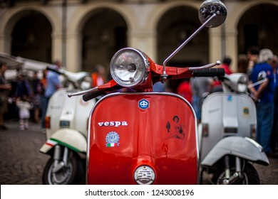 Torino, Italy - June 2nd, 2011 : Red Vespa with Pin up woman sticker at Vespa Moto Fest in Turin City Centre