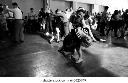 Torino, Italy. March 20, 2017. Swing dancers on the dance hall at Torino swing train festival