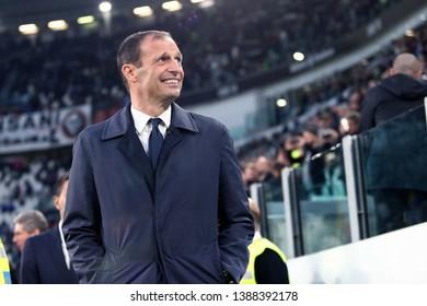 Torino, Italy - May 03, 2019. Italian Serie A. Juventus Fc vs Torino Fc. Massimiliano Allegri, head coach of Juventus FC .