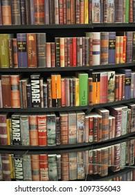 Torino, Italy - May 12, 2018. Turin International Book Fair, books tower.