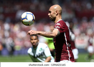 Torino, Italy - May 12, 2019.  Italian Serie A. Torino Fc vs Us Sassuolo Calcio . Simone Zaza of Torino FC  .