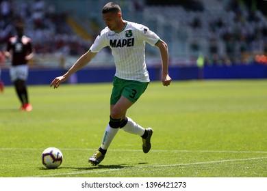 Torino, Italy - May 12, 2019.  Italian Serie A. Torino Fc vs Us Sassuolo Calcio . Merih Demiral  of Us Sassuolo Calcio.