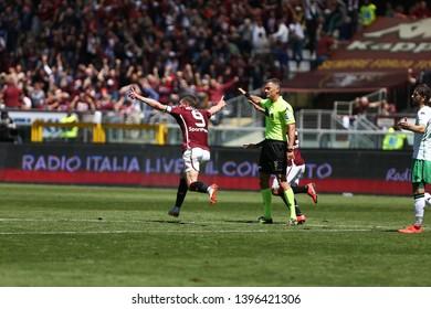 Torino, Italy - May 12, 2019.  Italian Serie A. Torino Fc vs Us Sassuolo Calcio . Andrea Belotti of Torino FC celebrate after scoring a goal.