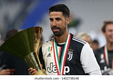 Torino, Italy - May 19, 2019. Italian Serie A. Juventus Fc vs Atalanta Bergamasca Calcio. Sami Khedira of Juventus FC celebrate the victory of Italian Serie A .