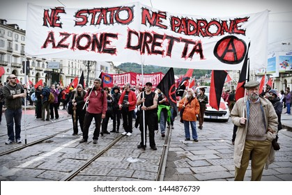 Torino, Italy, May 1st, 2018, workers, union men and anarchists are protesting in the center of the town for the Worker s Day.