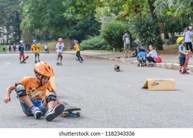 Torino, Italy - Parco del Valentino - 16th September 2018: Torino Street Style 2018 - Skateboarders