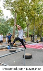Torino, Italy - Parco del Valentino - 16th September 2018: Torino Street Style 2018 - Parkour
