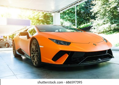 TORINO - JUN 08, 2017: Showroom. Close up of a new Lamborghini Huracan