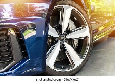 TORINO - JUN 10, 2017: Showroom. Close up of a blue Audi RS5 in a showroom