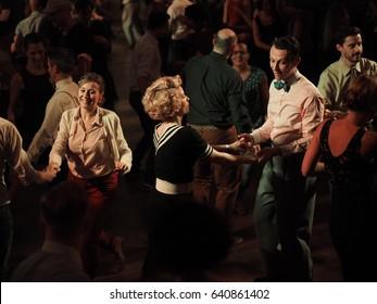 Torino, March 20, 2017. Swing dancers in the ballroom of Swing festival