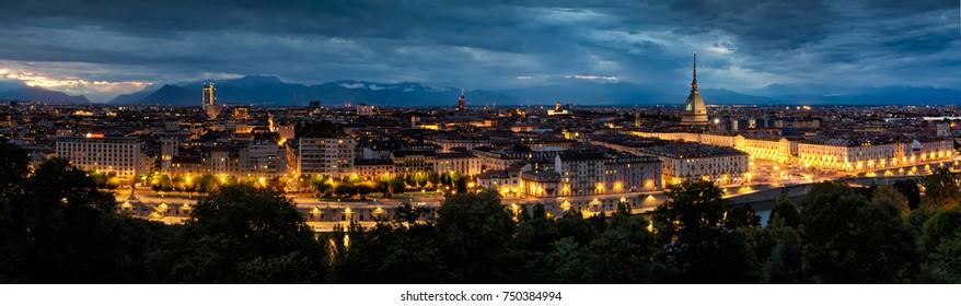 Torino (Turin), panoramic night view of Piazza Vittorio Veneto with Mole Antonelliana