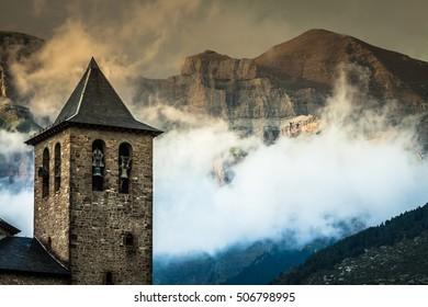 Torla town in Ordesa National pakr in the spanish pyrenees.