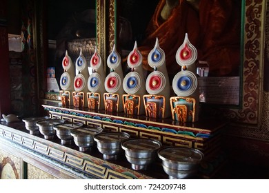 Torma figures made mostly of flour and butter used in tantric rituals or as offerings in Tibetan Buddhism, Lamayuru gompa monasteryLadakh, India