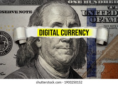 Torn bills revealing Digital Currency words. Ideas for Investing bitcoin, how to invest topic, Future of cryptocurrency, Exchange with US Dollars