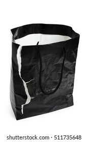 Torn Black Shopping Bag with white background