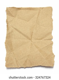 Torn brown  crumpled paper on white