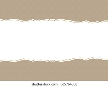 torn of brown paper, copy space white background