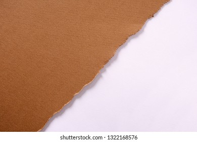 Torn brown paper diagonal strip background