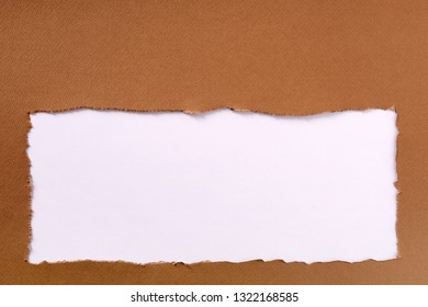 Torn brown paper frame white background