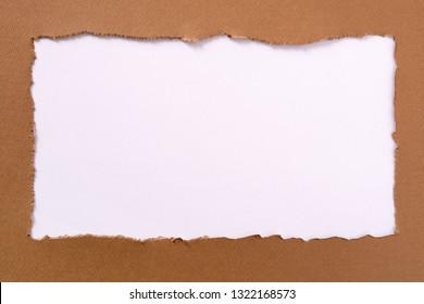 Torn brown paper oblong white background border frame