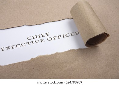 "Torn brown paper on white surface with ""chief executive officer"" words."