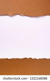 Torn brown paper strip background frame vertical