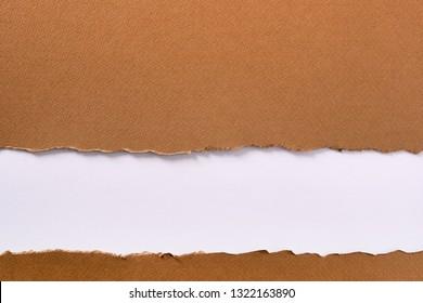 Torn brown paper strip bottom headline background frame