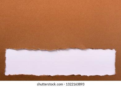 Torn brown paper strip bottom edge header background frame