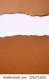 Torn brown paper strip header background frame vertical top edge