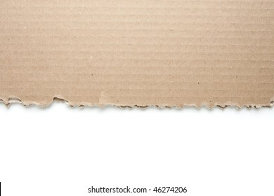 Torn Cardboard with Isolated White Background.