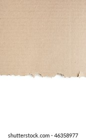 Torn Cardboard with Isolated White at bottom of frame