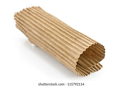 Torn corrugated cardboard isolated on white