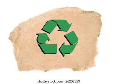 Torn corrugated cardboard on white background with a recycle symbol.