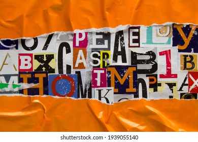 Torn and crumpled orange paper on collage from clippings with newspaper magazine letters and numbers. Ripped orange paper on alphabet letters cutting from magazine. Abstract background.
