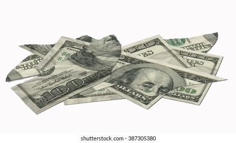 torn dollar bank notes - isolated on white background