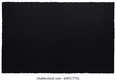 Torn edges black paper isolated on white.