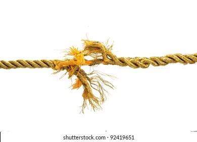 Torn gold rope isolated on white