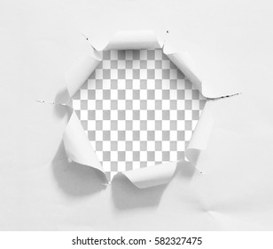 Torn hole and ripped of paper on a transparent background with clipping path.