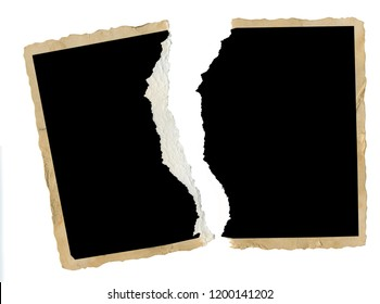 Torn old blank photograph, picture frame, divorce, contradiction concept for instance,isolated on white