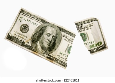 A Torn One Hundred Dollar Bill. Isolated on white.   XXXL