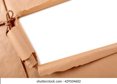 Torn paper background diagonal, mail package, copy space inside