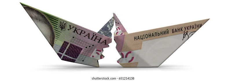Torn paper boat made from an Ukrainian banknote (hryvnia) on a white surface. Isolated. 3D Illustration