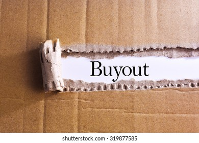 Torn paper box with word Buyout